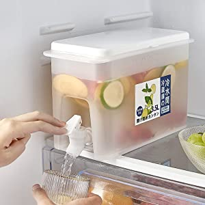Iced Beverage Dispenser 0.92 Gallon Plastic Drink Dispenser with Spigot Refrigerator Bottle Drinking Water Dispenser Cold Kettle with Faucet Beverage Container (1 Pack)