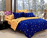 Lt Twin Full Queen Size Cotton Bedding Sets Blue and Yellow Starry Sky Moon Star Duvet Cover Sets (Queen, 4pcs without comforter)