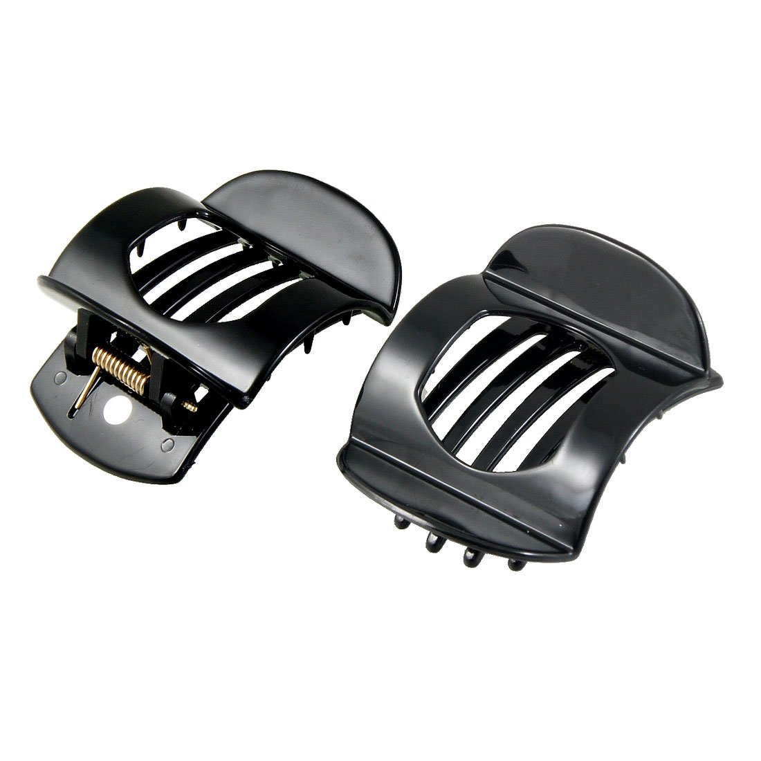 uxcell® Black Plastic Barrette Hairpin Clamp Hair Claw Small Clip 2 Pcs for Ladies