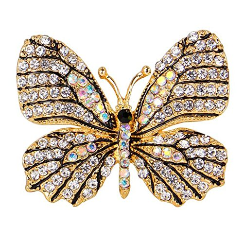Dress Brooch Butterfly (Demarkt Beautiful Butterfly Brooch with Rhinestone Pins Exquisite Corsage Dress Accessories)