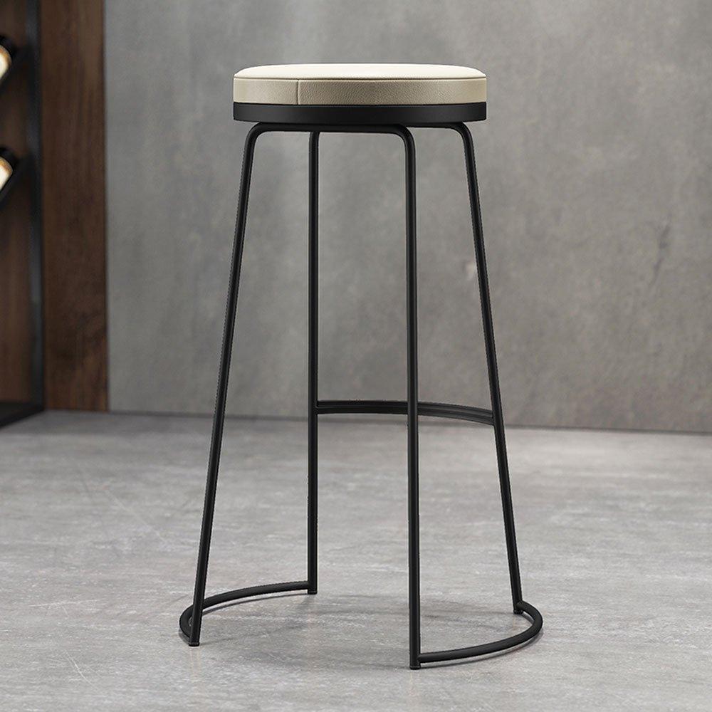 C H-75CM TY Furniture Nordic Bar Chairs,Modern Minimalist Wrought Iron High Stool European Fashion Bar Chair Casual Chair High Chair [3 colors 3 Heights] BEI (color   C, Size   H-75CM)