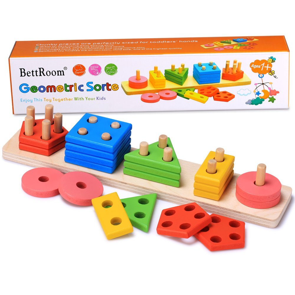 Bettroom Wooden educational preschool toddler toys for 1 2 3 4-5 year old boys girls shape color Recognition Geometric Board Blocks Stack Sort Chunky Puzzles kids Children Baby NON-TOXIC toy (14IN)