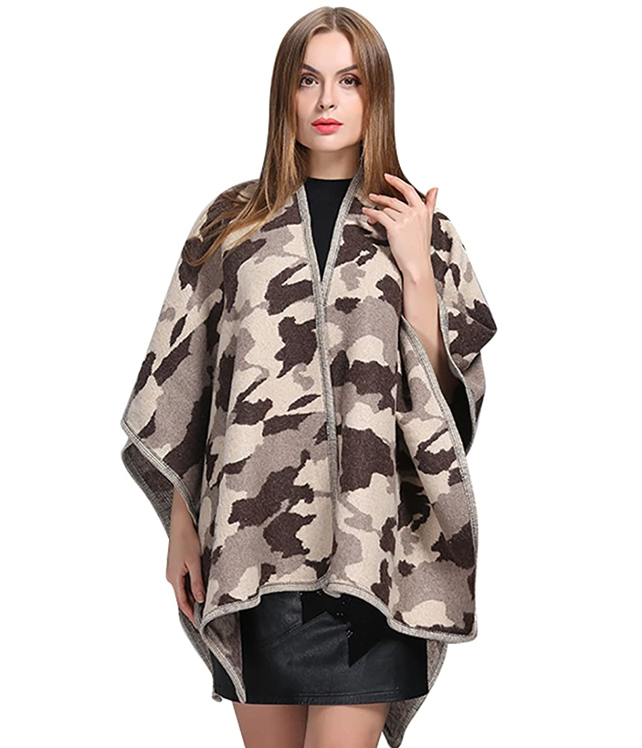 NiSeng Womens Camouflage Knitted Ponchos Oversized Winter Cardigan Sweaters