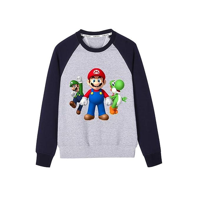AILIENT Super Mario Estampar Sudaderas Cuello Redondo Tallas Grandes Otoño Invierno Tops para Niño y Niña: Amazon.es: Ropa y accesorios