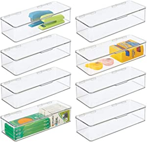 """mDesign Wide Plastic Stackable Box Home, Office Supplies Storage Organizer Box with Attached Hinged Lid - Holder for Note Pads, Gel Pens, Staples, Dry Erase Markers, Tape - 3"""" High, 8 Pack - Clear"""