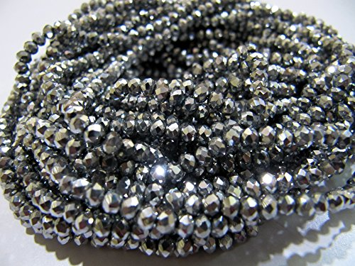 - Best Quality Silver Pyrite Color Rondelle Faceted Beads / 150 Beads per String/Size 3mm / Silver Coated Crystal Hydro Quartz Beads