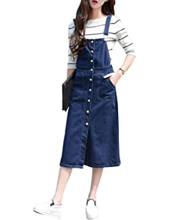 3d8b960fe62 Yeokou Women s Midi Length Long Denim Jeans Jumpers Overall Pinafore Dress  Skirt