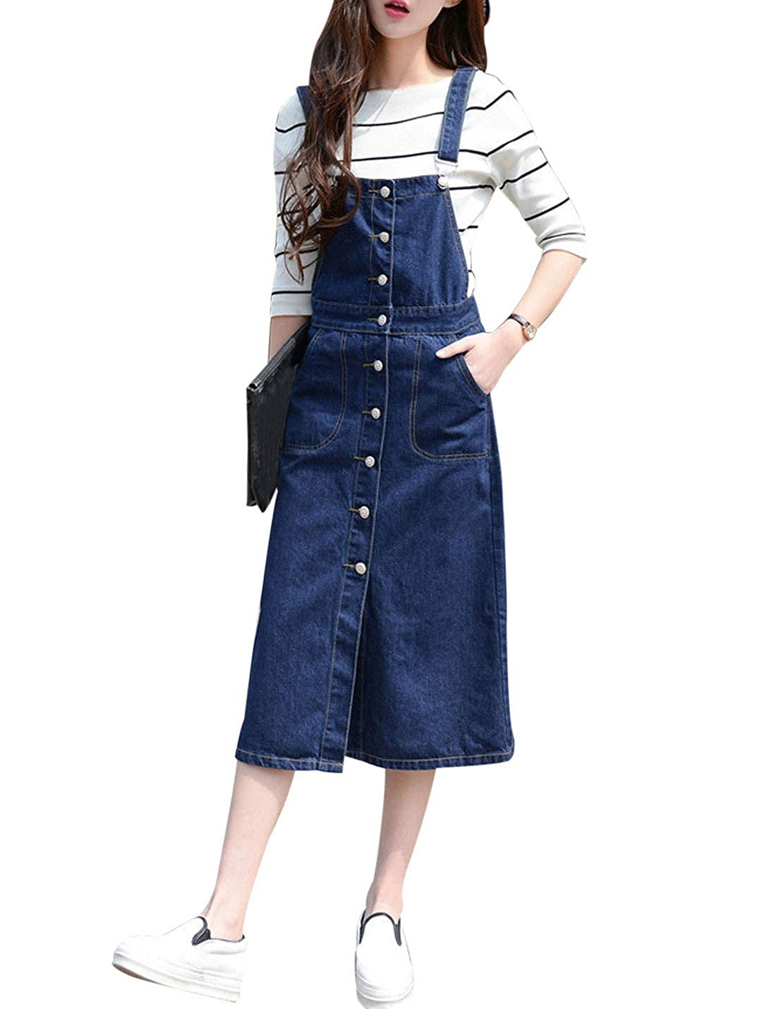 991c1c4d480 Yeokou Women s Midi Length Long Denim Jeans Jumpers Overall Pinafore Dress  Skirt at Amazon Women s Clothing store
