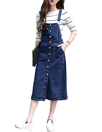 f285be78983b Yeokou Women's Casual Suspender Buttoned Midi Denim Overall Dress (X-Small,  DarkBlue)