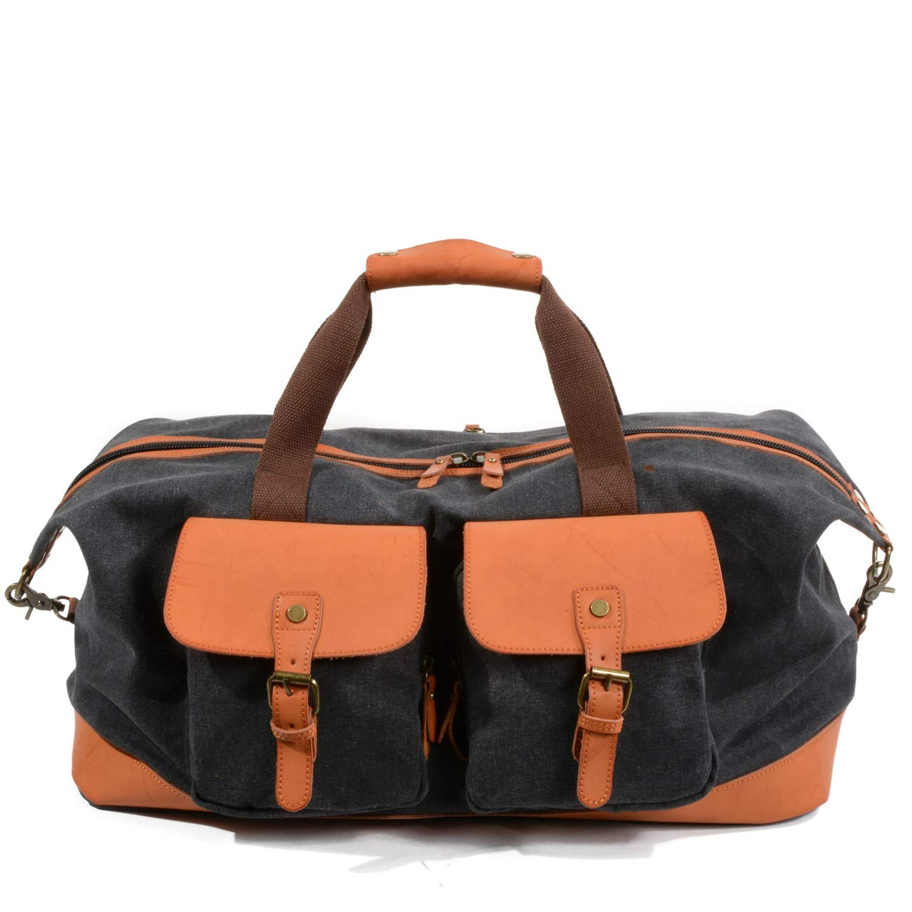 a7e2459264e Geremen Canvas Duffle Bag Leather Weekend Bag Carry On Travel Bag ...