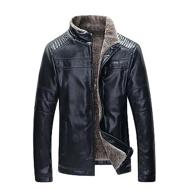 c45ff9d8f722 TEERFU Men's Winter Warm Sheep Faux Leather Coat Jacket Lamb Wool Lined at Amazon  Men's Clothing store: