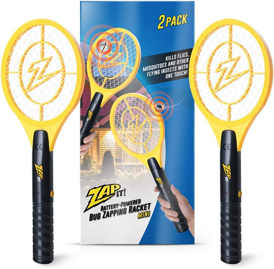 ZAP IT! Bug Zapper Twin Pack - Battery Powered (2xAA) Mosquito, Fly Killer and Bug Zapper, Large Racket - 3,500 Volt - Safe to Touch