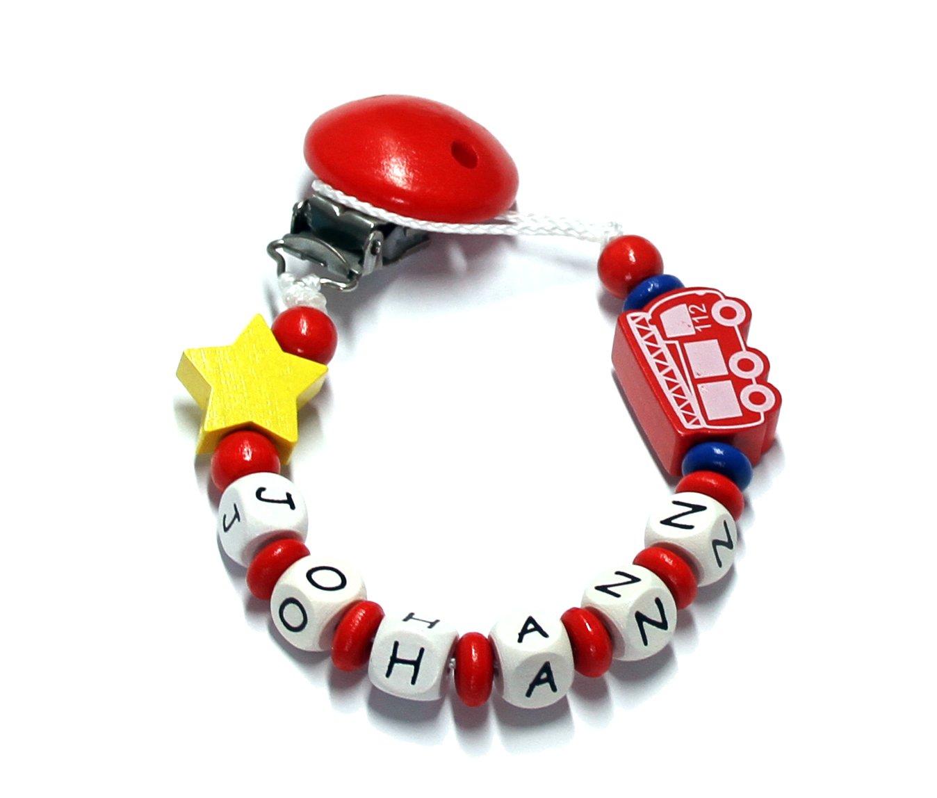 Baby Schnullerkette mit Perlen aus Holz und Wunschname Johann Feuerwehr 112
