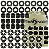 Set of 16 Rubber Bumpers, 16 Outside Bushings, 16 Washers & 10 Rod End Caps for Foosball Table & Billiard Evolution Drawstring Bag