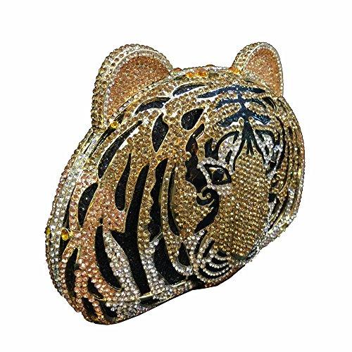 Lady Dazzle Full Diamond Clutch Tiger Head Evening Bag Bling Rhinestone Chain Cross Body Bag Animal Purse (Gold 1) by nice--buy (Image #1)