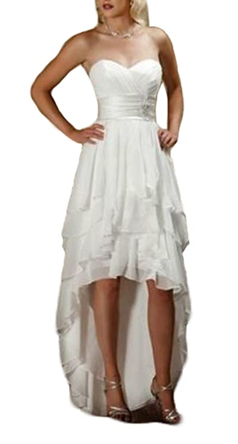 Ulbridal Country Western High Low Wedding Dresses Cow Girls Chiffon Plus Size at Amazon Womens Clothing store: