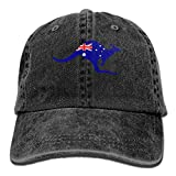 Uanqunan Australian Kangaroo Flag Unisex Cotton Denim Baseball Cap Adjustable Strap Low Profile Plain Hats Black