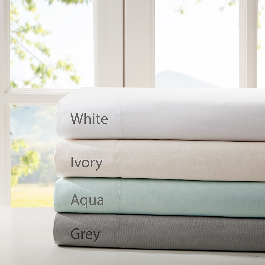 Smart Cool Microfiber King Bed Sheets, Casual Aqua Cooling Sheets, Cooling Bed Sheets 4-Piece Include Flat Sheet, Fitted Sheet & 2 Pillowcases