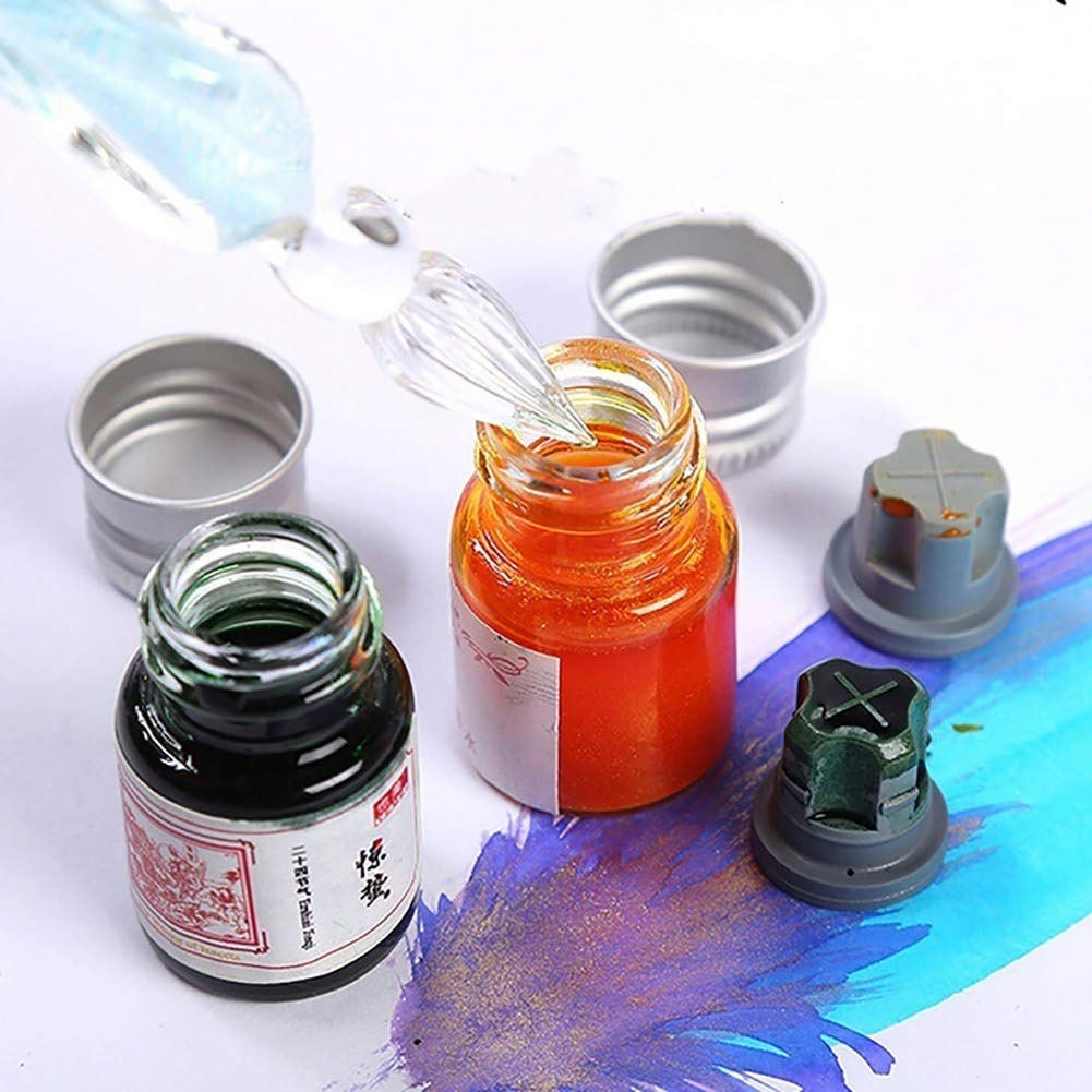 Baost 5ML Colored Calligraphy Ink Writing Painting Drawing Ink Fountain Pen Ink with Glitter Powder Glitter Art Paint Brush Pigment for Graffiti, Oil Painting, Calligraphy F by BaoST (Image #5)