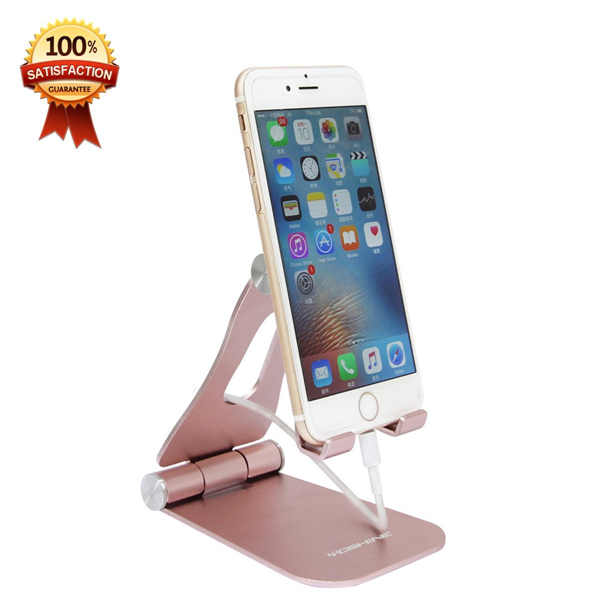 YOSHINE Adjustable Cell Phone Stand, iPhone Stand Solid Aluminum Cell Phone Holder Cradle Dock For Switch, iPhone 8 X 7 6 6s Plus 5 5s 5c charging, Accessories Desk, all Android Smartphone - Pink