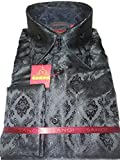 Sangi 1007 Mens Elegant Black Damask High Collar French Cuff Shirt (2XL)