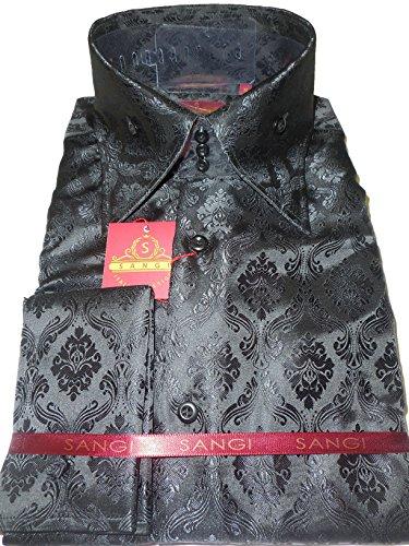 Sangi 1007 Mens Elegant Black Damask High Collar French Cuff Shirt (3XL) - Mens Fancy Dress