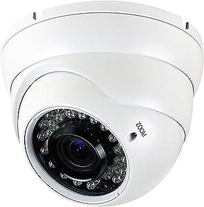 Analog CCTV Camera HD 1080P 4-in-1 (TVI/AHD/CVI/CVBS) Security Dome Camera, 2.8mm-12mm Manual Focus/Zoom Varifocal Lens, Weatherproof Metal Housing 36 IR-LEDs Day & Night Monitoring (White)