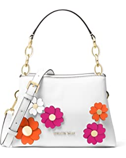 aed3f081a66 Michael Kors Portia Small East West Flora Applique White Leather Satchel Bag