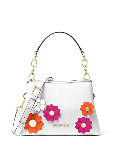 7802cb13ff6b49 Amazon.com: Michael Kors Portia Small East West Flora Applique White  Leather Satchel Bag: Shoes