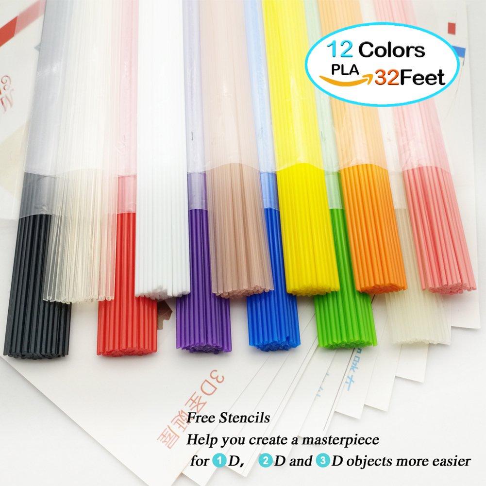 3D Pen Filament Refills PLA 1.75mm NanHong box Kit PLA Filament for 3D Pen 1 Glow in the Dark Colors 3D Printing Pen Filament 12 Colors/32 Feet 3D Pen Refills PLA Filament sticks NH2217