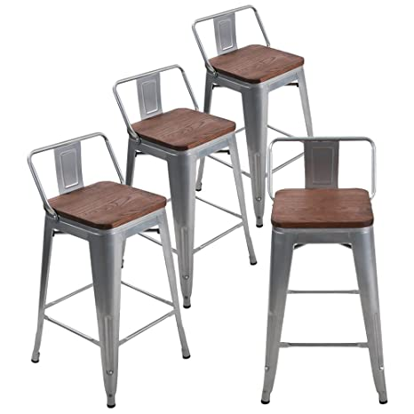 Cool Andeworld Set Of 4 Tolix Style Counter Height Stools With Backs Industrial Metal Bar Stools Low Back Silver Wooden 26 Inch Pabps2019 Chair Design Images Pabps2019Com
