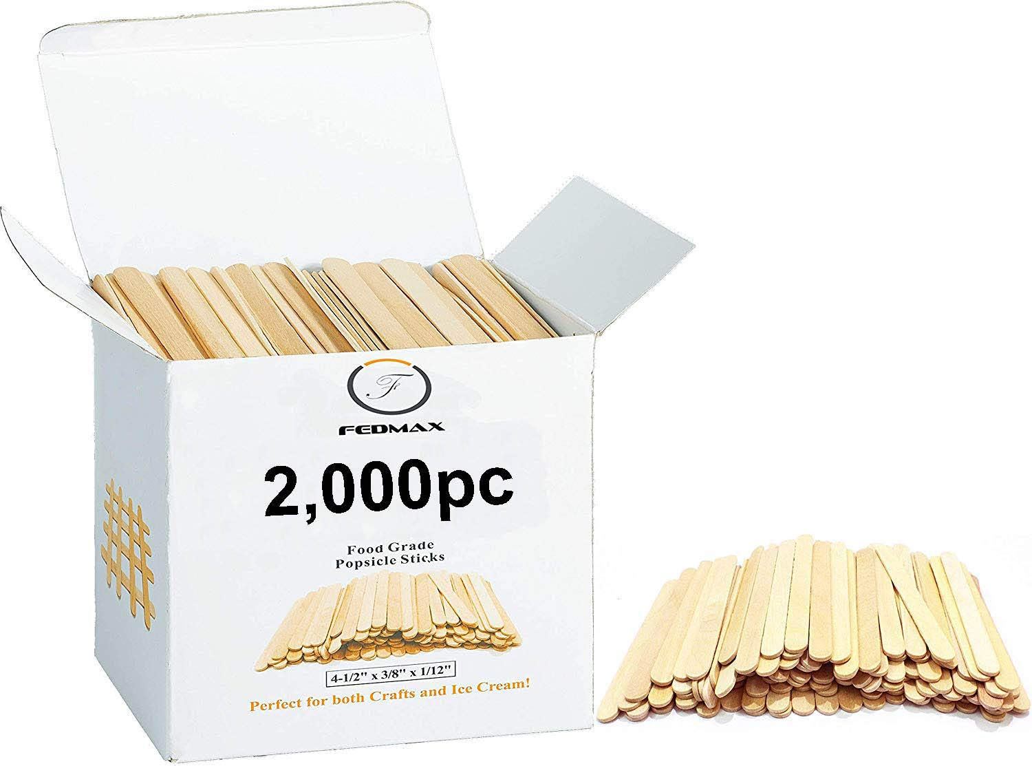 "Popsicle Sticks, (2,000pc), 4-1/2"" Length, Food Grade Wooden Ice Cream Sticks, Great Bulk Sticks for Crafts, by Fedmax. (2,000pc)"