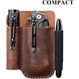 EDC Leather Pocket Pouch, Knife Organizer Pouch, Pocket Slip, EDC Carrier, with Pen Loop, Everyday Carry Organizers, Full Grain Leather. Chestnut.