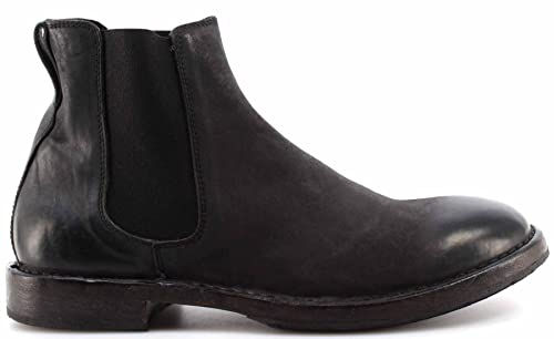 Zapatos Hombres Botines MOMA 66705-SA Sauro Nero Cuero Negro Vintage Italy: Amazon.es: Zapatos y complementos