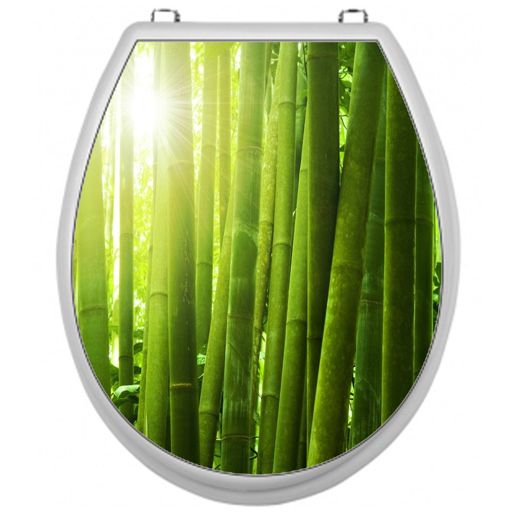 Sticker for Toilet Seat Toilet Lid Cover Decal Sticker Toilet Seat Sticker–Bamboo Design Shirt-2-Go TSAU011