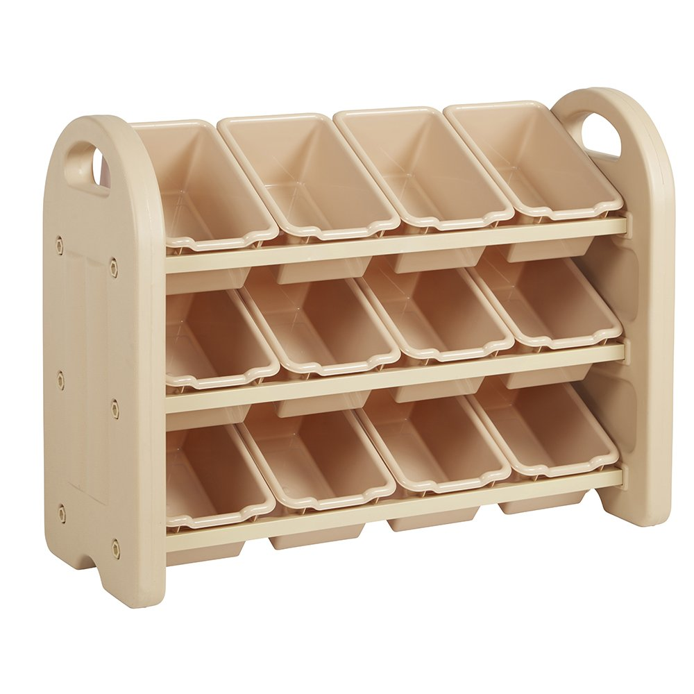 ECR4Kids 3-Tier Toy Storage Organizer for Kids, Sand with 12 Sand Color Bins