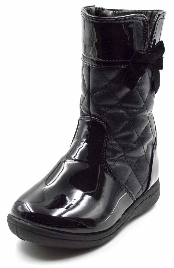 Simply Petals Girls Cute Amour PU Leather Boot with Diamond Detail and Bow (Toddler) in Black Size: 7 Toddler