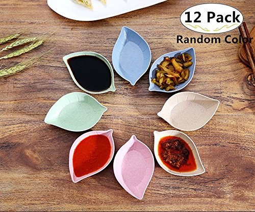 12 Pack Multipurpose Mini Leaf Shape Seasoning Sauce Dishes, Magnolora Small Appetizer Plates Dipping dish Dinnerware Set - Saucer for Vinegar/Salad/Soy Sauce/Wasabi/Chili Oil