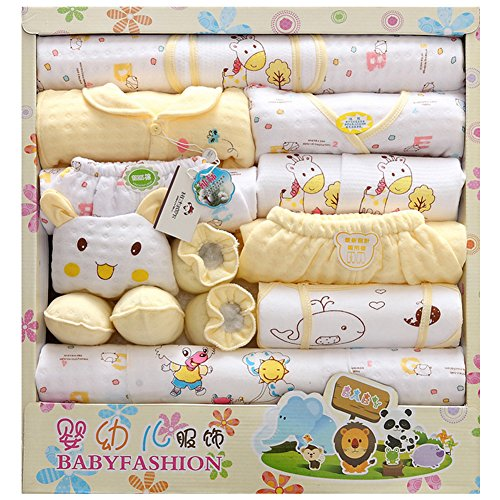 LKOUS Baby-Girls/boys Newborn 18 Piece Newborn Essentials Gift Set, Yellow