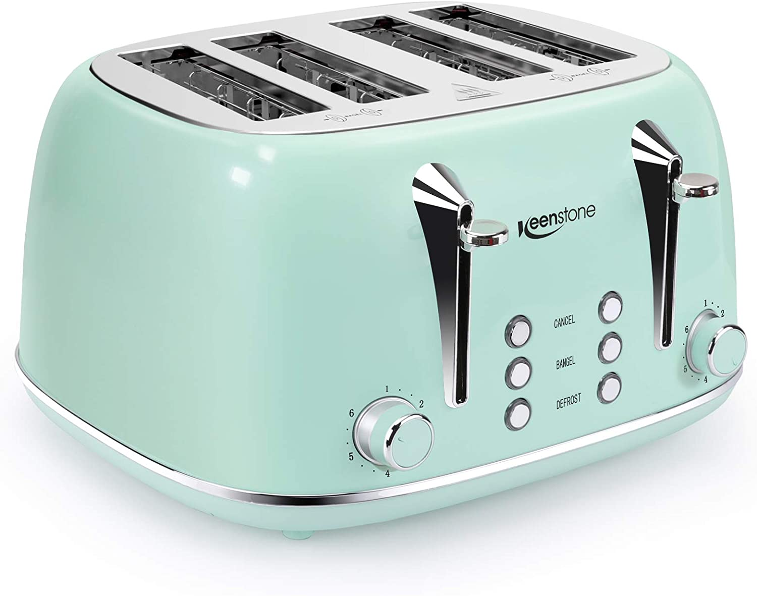 Toasters 4 Slice, Keenstone Retro Stainless Steel Bagel Toaster with High Lift Lever and Removal Crumb Tray, Green