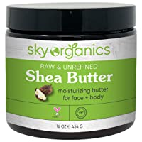 Organic Shea Butter by Sky Organics (16 oz) 100% Pure Unrefined Raw African Shea Butter for Face and Body Moisturizing Natural Body Butter for Dry Skin