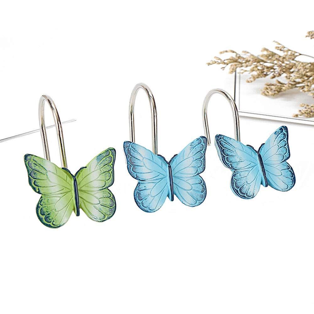 CXYGHXGY Resin Hook, Curtain Loop, Bathroom Shower Curtain Resin Hook, Open Hook, Butterfly (Set of 12)