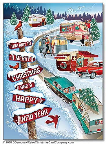 Winter Vintage Campers Christmas Cards - 8 Cards And Envelopes made our list of Over 100 Ideas For This Holiday Season For Christmas Gifts For Campers And RV Owners!