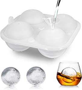 Adoric Ice Ball Trays, Large Ice Ball Maker Reusable Transparent Silicon Ice Sphere Tray with Mini Funnel for Cocktail, Whisky, Beverage(White)