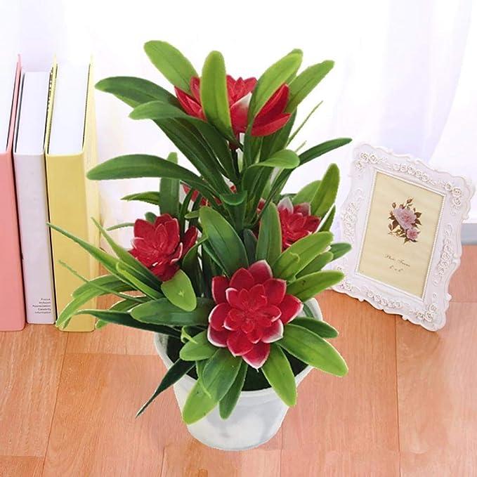 LbojailiAi Flor Artificial Flor de Loto Artificial Falsa Planta en Maceta Bonsai Wedding Party Garden Decoraci/¨/®n para el hogar Amarillo