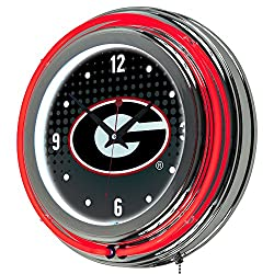 Trademark Gameroom University of Georgia Chrome Double Rung Neon Clock - Reflection