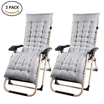 2Pcs Remplacement Coussin Chaise Longue Poncage Fauteuil Classique Mat Doux Pour Bain De Soleil Transat Jardin