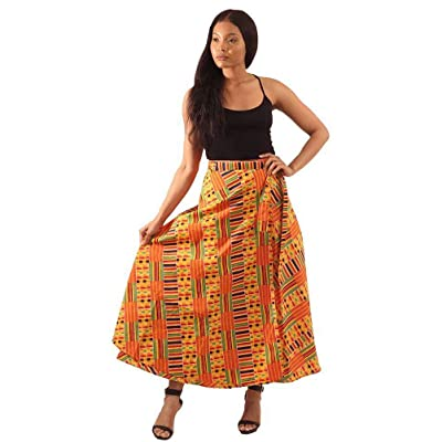 African Inspired Fashions Kente Print Wrap Skirt - Pattern 1 Yellow at Women's Clothing store