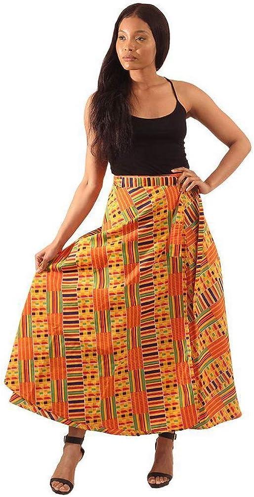 African Inspired Fashions Kente Print Wrap Skirt - Pattern 1 Yellow