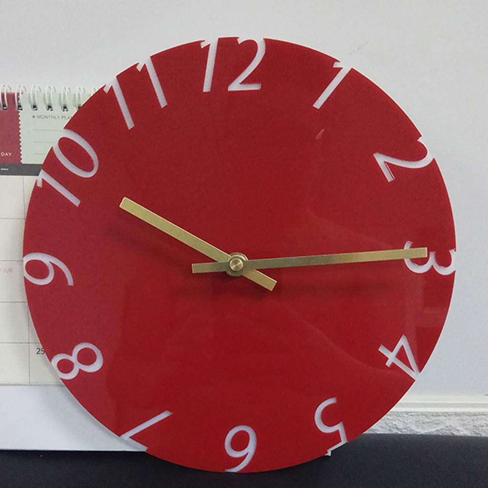 Cocal Modern Fashion Acrylic Removable Wall Clocks DIY Acrylic Decorative Clock, Battery Operated (Red) by Cocal (Image #3)